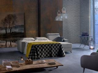 Canapé-lit Como avec chaise longue, lit ouvert
