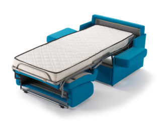 Compact chair-bed, open bed