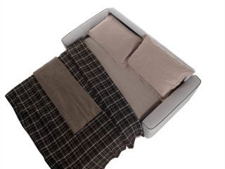 Eclisse sofa bed, open bed with sheets