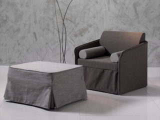 Elsa chair-bed and pouf-bed