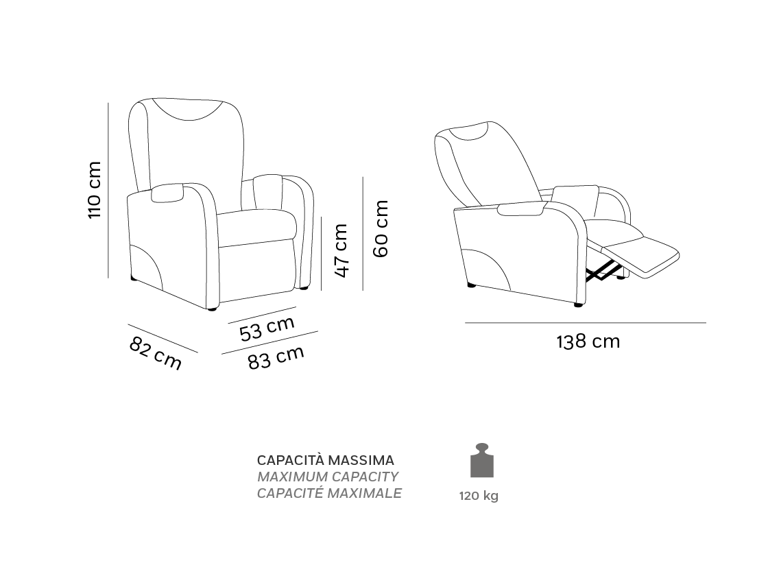 Lara - Poltrona Relax - Scheda Tecnica