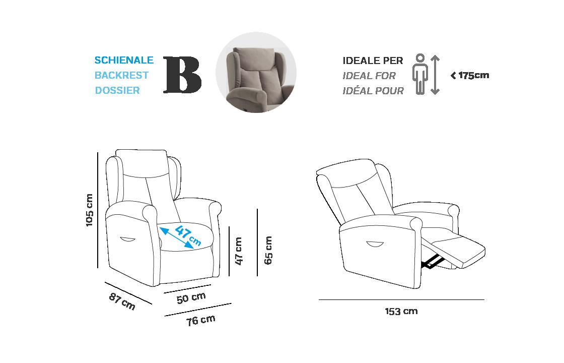 Multilpla Poltrona Relax - Scheda Tecnica - Schienale B