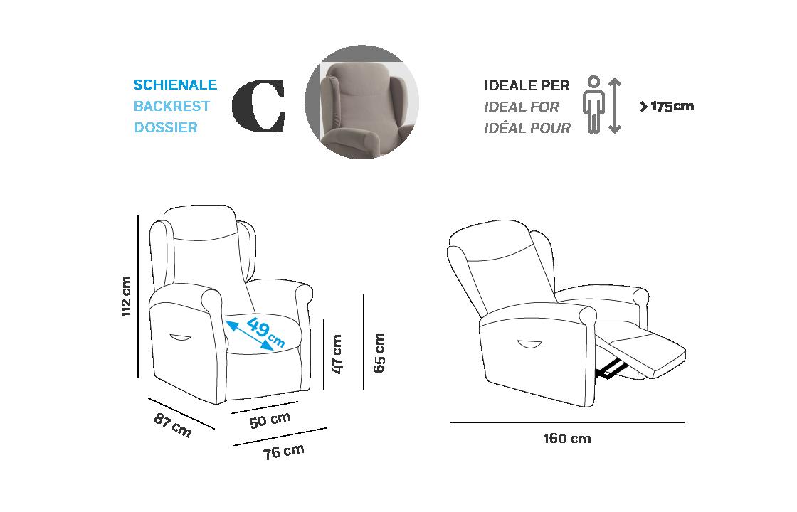 Multilpla Poltrona Relax - Scheda Tecnica - Schienale C
