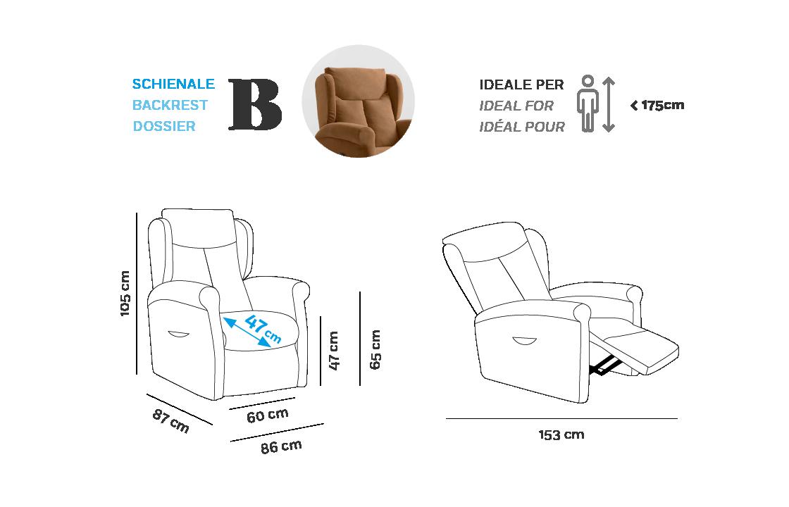 Multilpla XL Poltrona Relax - Scheda Tecnica - Schienale B