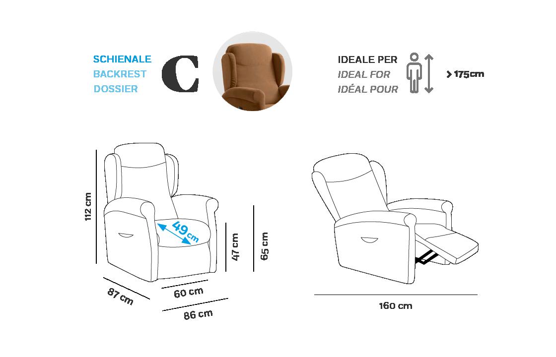 Multilpla XL Poltrona Relax - Scheda Tecnica - Schienale C